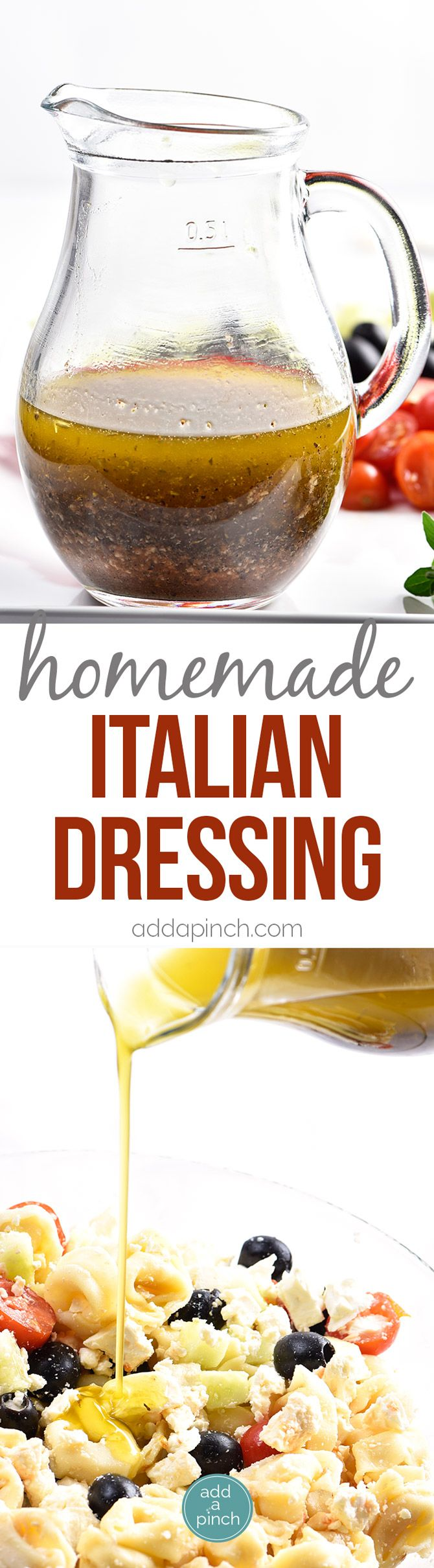 Homemade Italian Dressing Recipe - Homemade Italian Dressing is such a quick and easy salad dressing recipe! Made with olive oil, vinegar, herbs and spices, this Italian Dressing recipe is one that everyone always loves! // addapinch.com