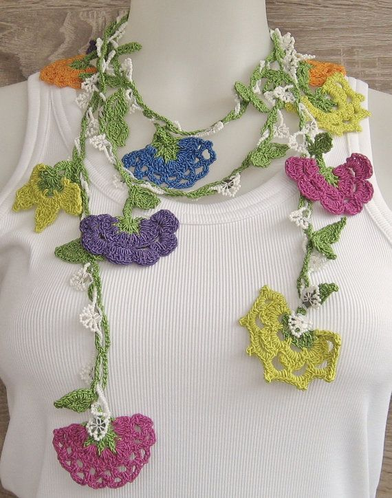 Long crocheted Turkish Oya necklace embellished with by Huchis