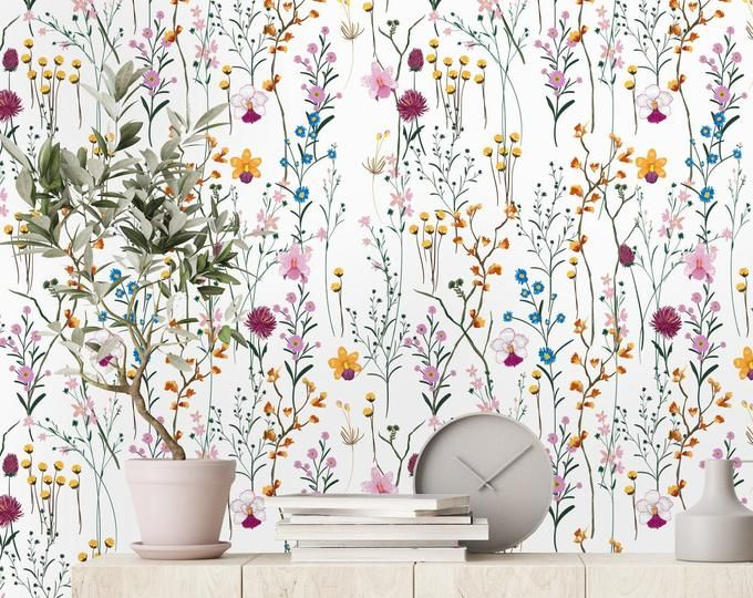 Beige Floral Wallpaper Removable Wallpaper Or Regular Wall Murals Vintage Wall Mural Floral Painting 81 Kids Room Wall Murals Mural Wallpaper Wall Wallpaper