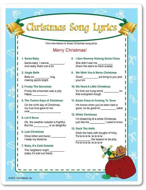 printable christmas song lyrics
