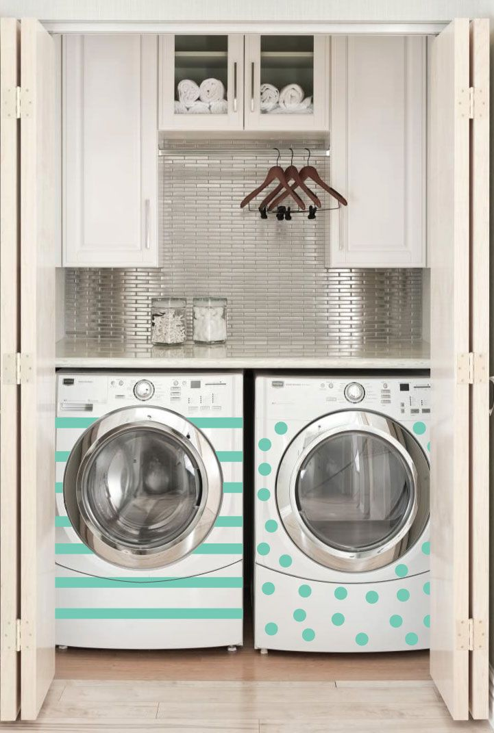 Washer and dryer with mint stripes and mint polka dots pattern decals - Dana Decals
