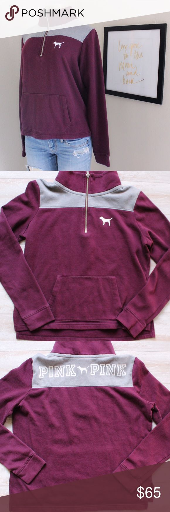 Victoria Secret Quarter Zip Sweater⭐️ Victoria Secret Quarter Zip Sweater size small, EUC, burgundy with pink logo on the bank, very little pilling, perfect boyfriend Quarter Zip sweater⭐️ PINK Victoria's Secret Sweaters