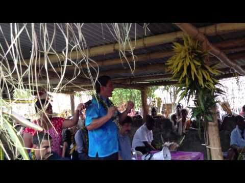 """A presentation made by the Prime Minister of Vanuatu to launch the first ever agri-superannuation accounts for small holder growers in South Santo. There will be 1,000 farmers by mid-2014 with an ultimate objective of 25,000 receiving superannuation payments. """"The team have a lot of follow-up work!"""" says Jane, who worked on this project as part of her VSA assignment."""