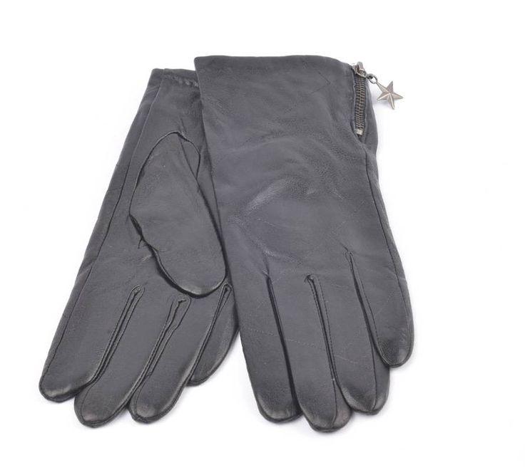 Handschoen leder ruit (895224) - Zwart met ster hanger #styleguide #fashionguide #mode