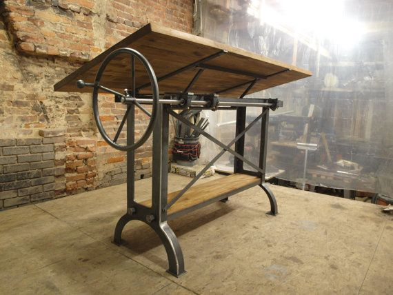 Large Stand Up Oak Industrial Drafting table by CamposIronWorks, $3390.00