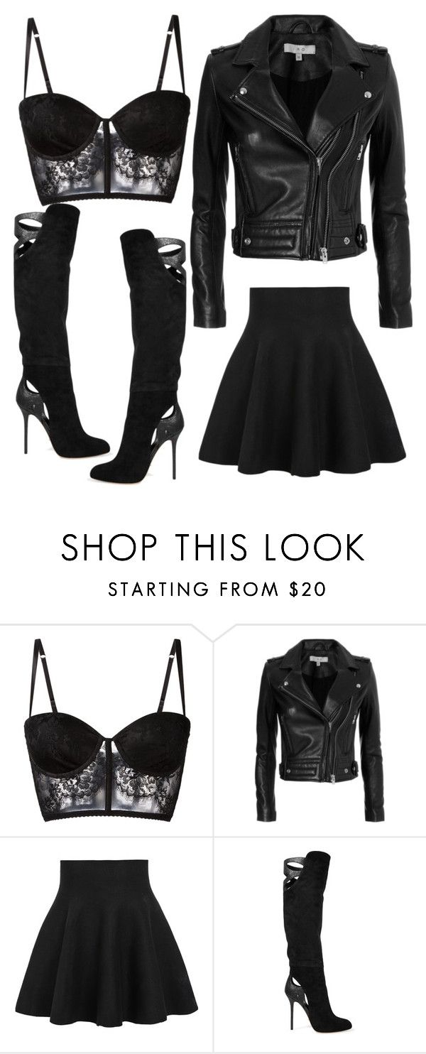 """Basic black rebel outfit"" by maile-estacion ❤ liked on Polyvore featuring I.D. SARRIERI, IRO, WithChic and Sergio Rossi"