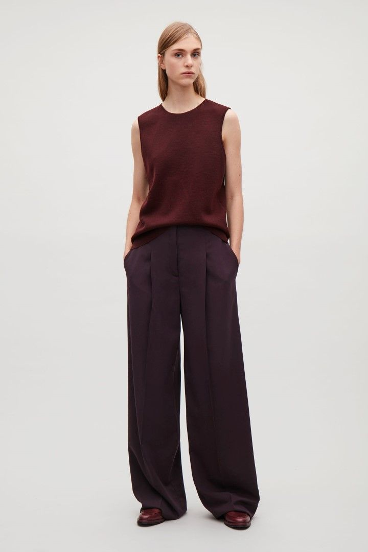 COS image 1 of Wide-leg trousers with press folds  in Plum