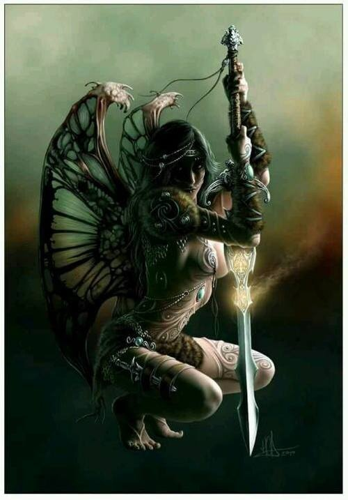 Angel of darkness: Angel, Fairies Warriors, Fantasy Art, Warriors Women, Swords, Goth Art, Beauty, Fae Pixie Fairies Fantasy, Elves