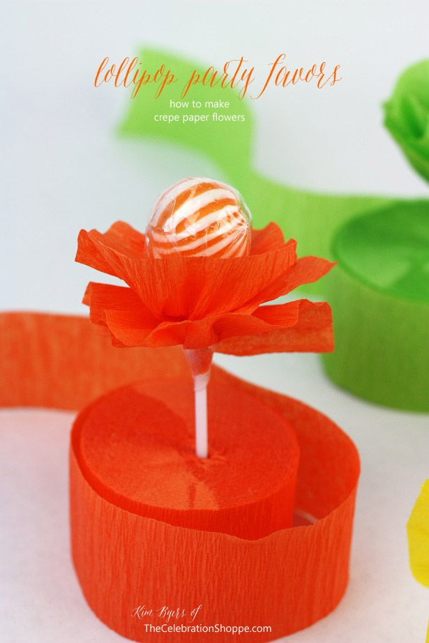 How To Make Crepe Paper Flower Lollipops {DIY Party Favor}