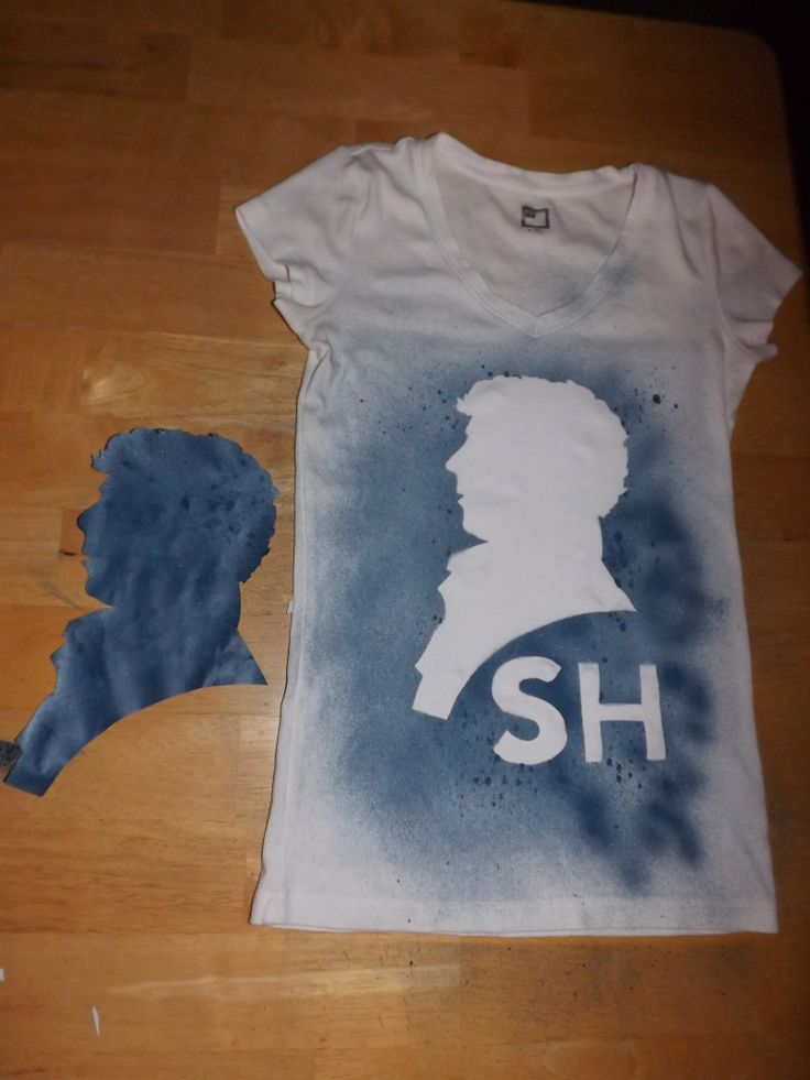 I WANT TO DO THIS!  Draw, cutout sherlock silhouette, duct tape on shirt, spray with fabric paint, remove silhouette,