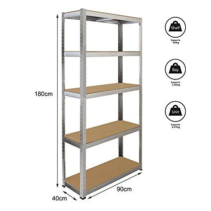Cownic Heavy Duty 5 Tiers Boltless Shelving Unit Commercial Racking Garage Shelving Unit Storage Shelf Display (1 x Unit, Silver): Amazon.co.uk: Kitchen & Home   @giftryapp