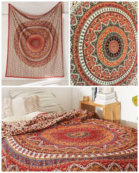 Kerra Mandala Bohemian Boho Orange Mix Wall Beach Bed Tapestry