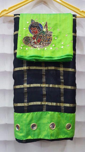 Albeli checks crape saree with designer mirror border with designer mirror blouses   Buy Online Sarees   Elegant Fashion Wear