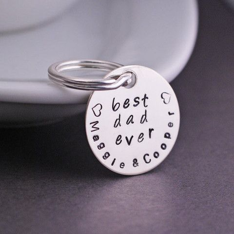 georgiedesigns - Personalized Best Dad Ever Keychain, Best Dad Ever Gift, Silver Gift