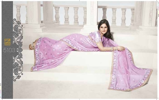 Net Saree in Pink net,  The blouse is a shimmer fabric and there is a gold border along the saree.  There is silve sequine and stone work on the saree.   £99.99