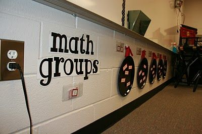 Spray painted pizza pans, ribbons and hooks for math or reading groups! Magnetic, so you can move the names around!