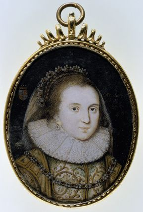 LADY ANNE CLIFFORD AS COUNTESS OF DORSET portrait miniature attributed to Peter Oliver, 1620