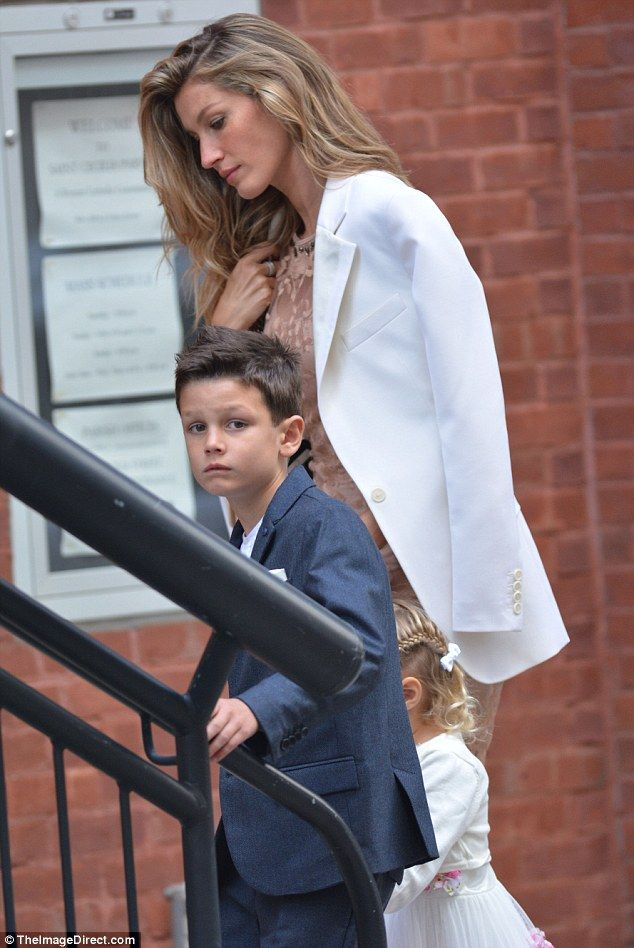 Family time: Gisele with five-year-old son Benjamin and two-year-old daughter Vivian