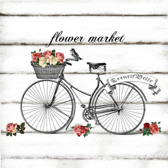 Vintage Bicycle Large A4 Instant Digital Download by CreatifBelle