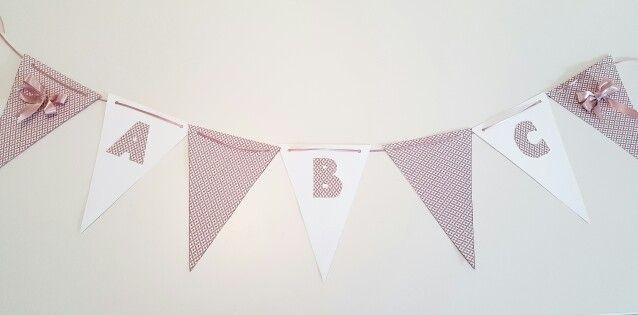 Girl babyshower banner - A B C