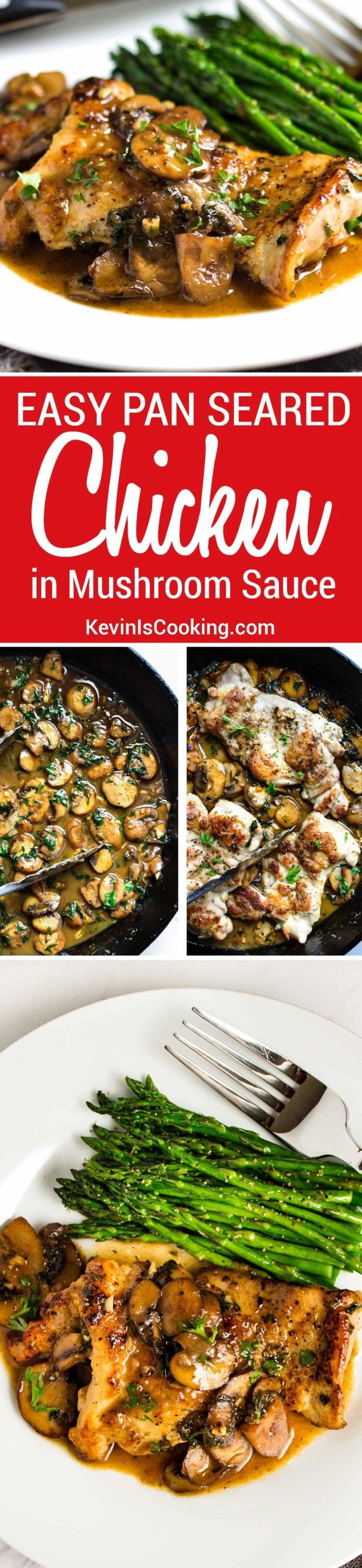 This Quick Pan Seared Chicken with Mushrooms uses chicken thighs, is smothered in a luscious, lemony mushroom pan sauce and is on the table in 30 minutes. via @keviniscooking