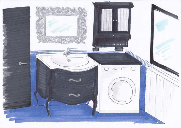 Proposta 1 mobili scuri/wenge come la porta maniglie e cornice specchio argento