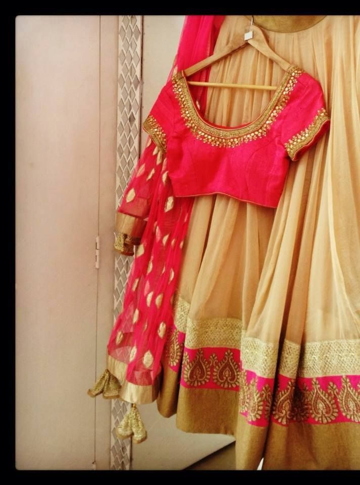 Off-white/ Gold lehenga with border to match blouse and Dupatta.. For Engagement Dupatta