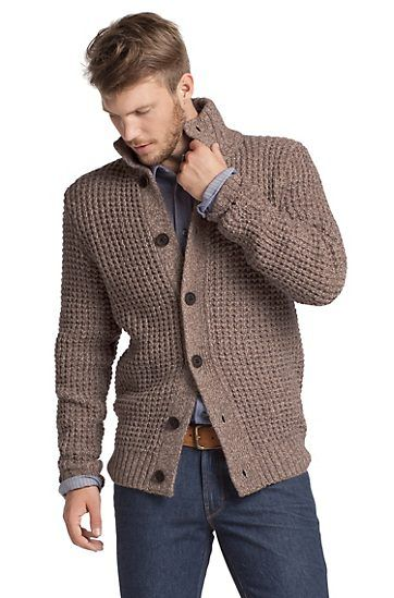 Hugo Boss - Knit cardigan in blended new wool 'Aris', Open brown
