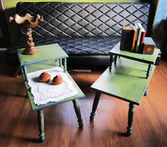 Painted Retro Coffee Table: Vintage Pair Refinished Hand Painted Lamp Coffee End