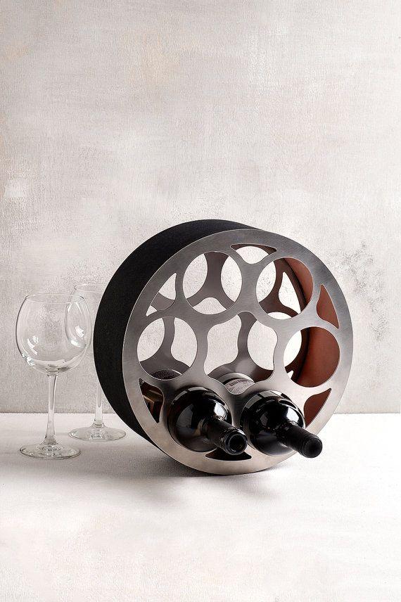 Modern wine rack wheel / stainless steel wine by SturlesiDesign
