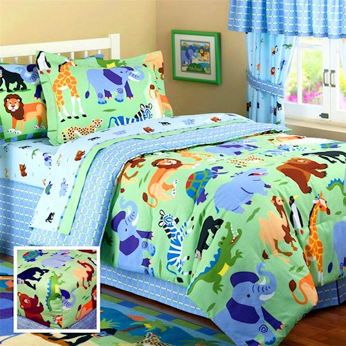 wild animals jungle safari bedding full hugger bunk bed comforter for boys by olive kids 24631. Black Bedroom Furniture Sets. Home Design Ideas