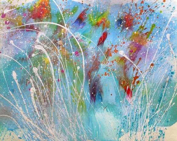 """Blue Abstract Painting Splashes #21  (16x20"""")"""