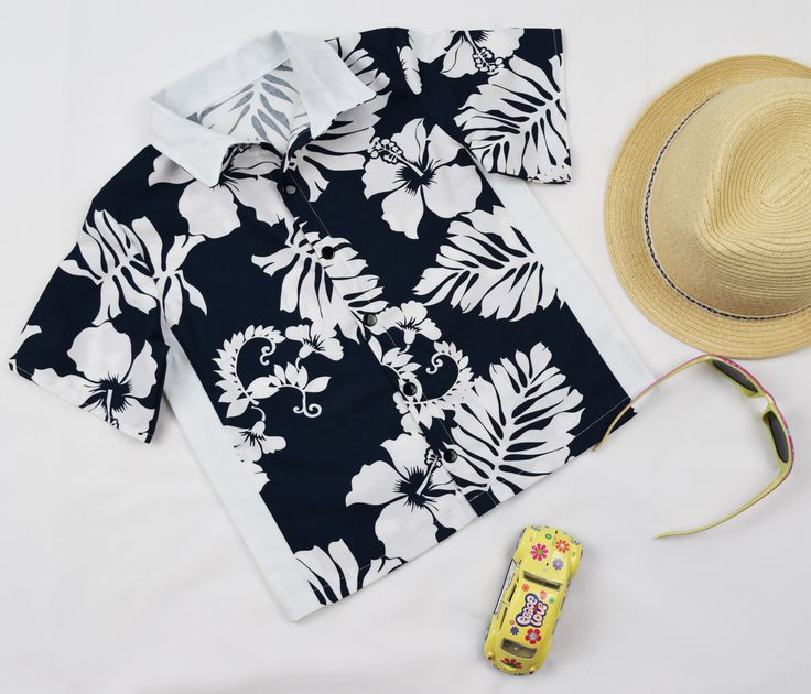 Boys 100% cotton retro shirt. Hawaiian blue. Handmade in Australia.