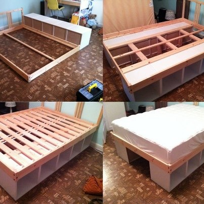 DIY solution! Turn two sturdy bookshelves on their sides and use them as legs. Then build the bed frame on top of them.