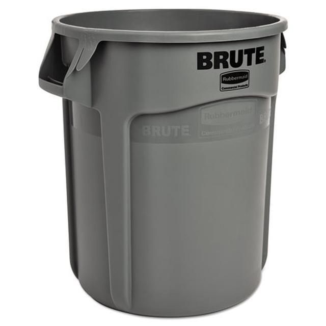 Round Brute Container Plastic 10 Gal Gray Rubbermaid Commercial Products Rubbermaid Trash