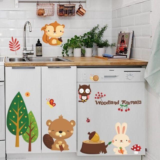 Bos dieren cartoon muurstickers kids decoratie removabl behang muurschildering diy decor