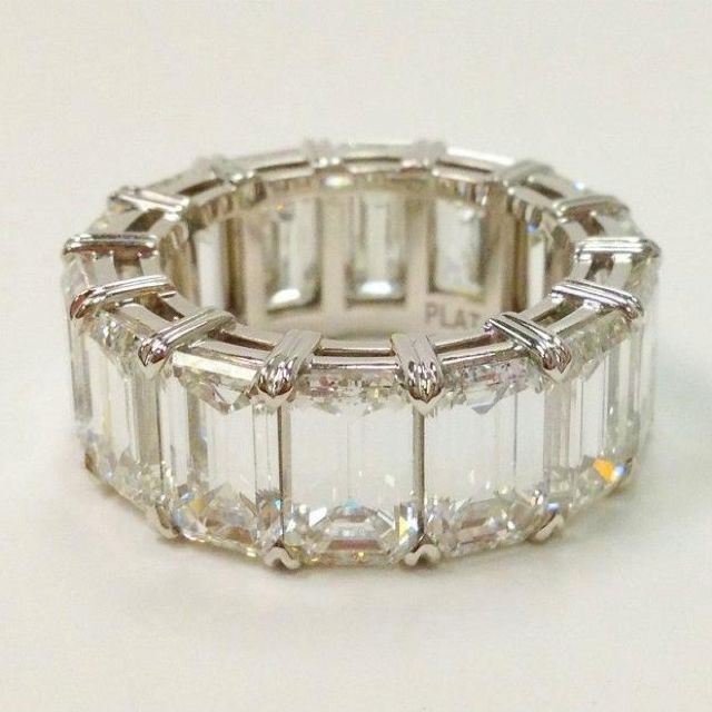 Gorgeous emerald cut eternity band