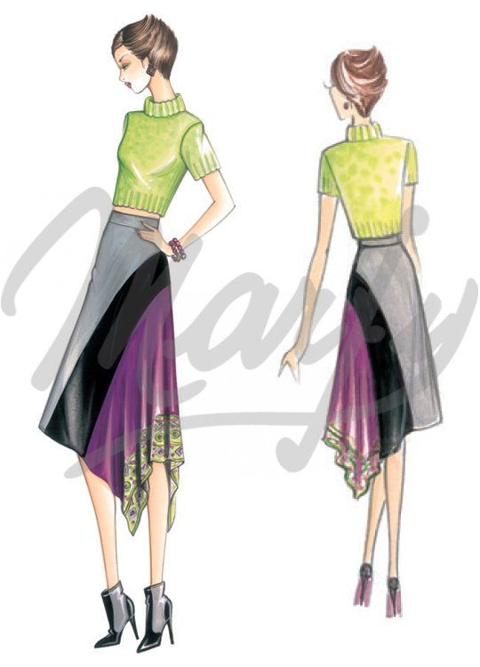 Fabric required mt 1 10 wide 1 40 Available in sizes 42 44 46 Skirt with diagonal hem and rectangular panel with handkerchief points