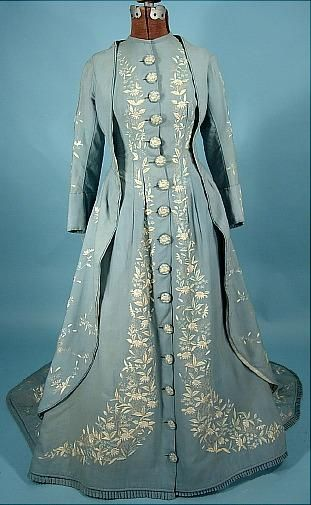 Circa 1870s Trained Pale China Blue Wool Twill Morning Gown with Watteau Back and Two-Tone Embroidery. [deadlink]