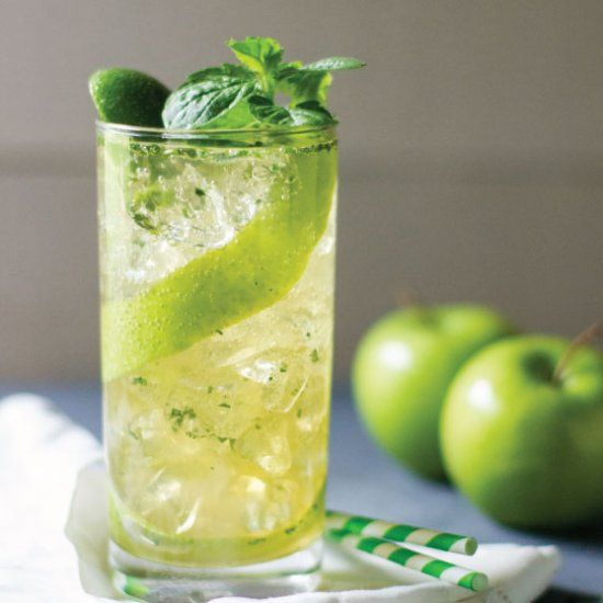Bright and fresh summer mojito with mint, lime, rum, and apple.