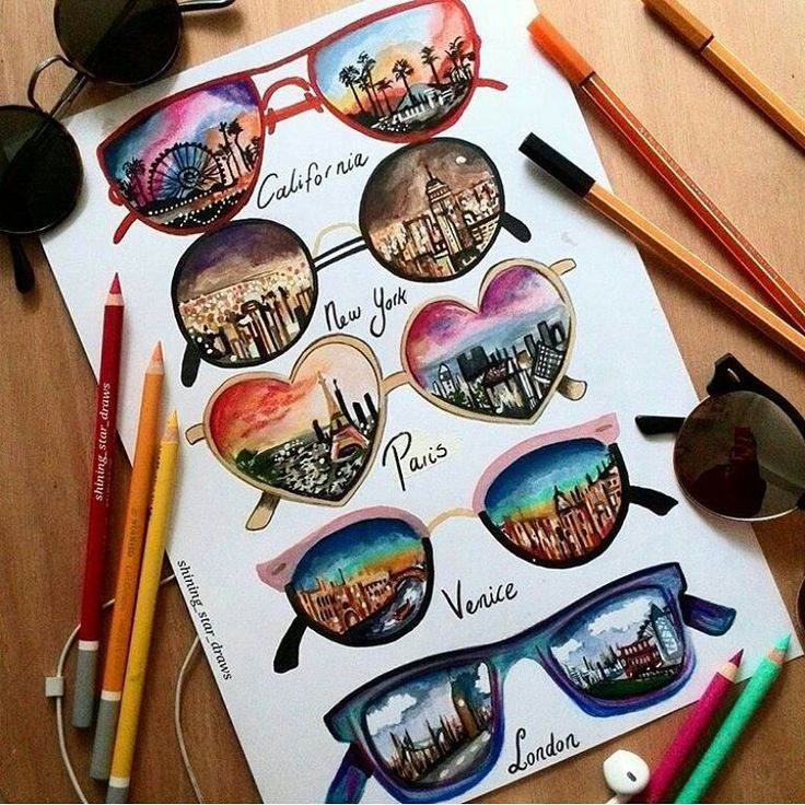 Which want is your favorite ? I like California and Paris. By: @shining_star_draws #draw #draws #drawings #drawing #california #newyork #paris #venice #venise #london #londres #glasses #beautiful #dessin #dessins #lunettes #lunette #lunettesdesoleil