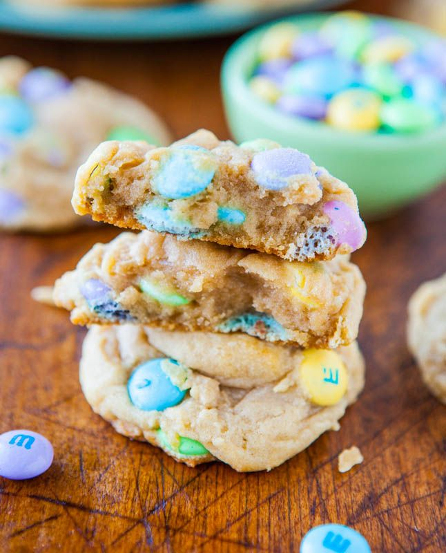 Soft and Chewy M&Ms Cookies  - cornstarch in the dough helps keep it soft.