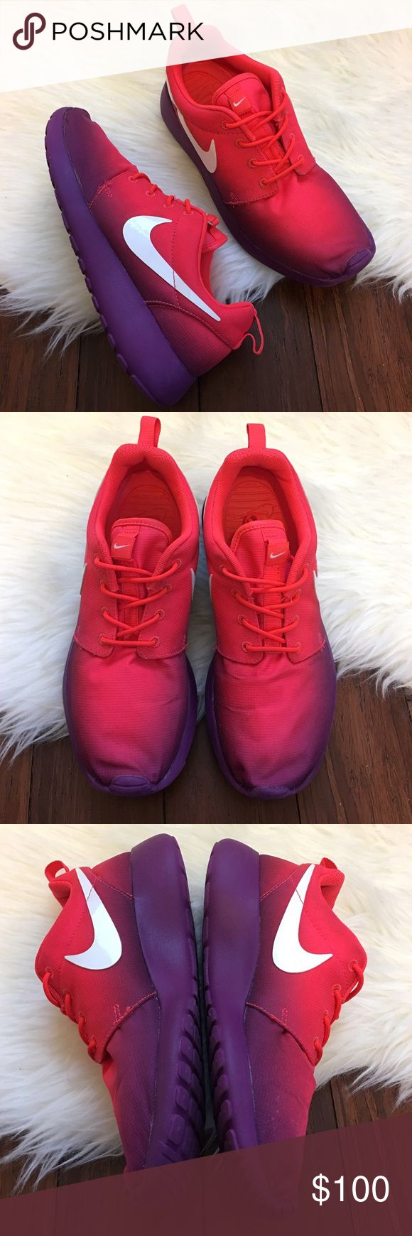 | Nike | Roshe Run Pink & Purple Ombré Sneakers In excellent condition. Worn one time. No noticeable flaws. Such an awesome and unique color! Nike Shoes Athletic Shoes
