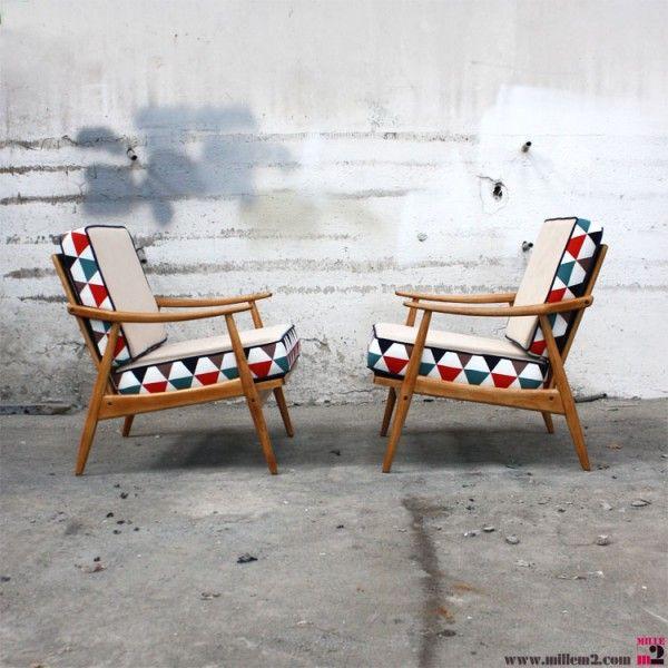 """Fauteuil vintage style scandinave """"coussins à deux faces"""" - Mille m2"""