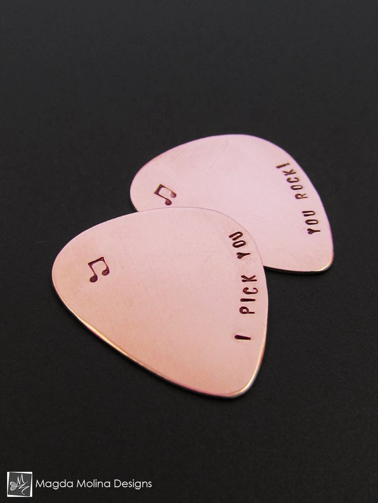 "How To Pick Kitchen Paint Colors: Copper Guitar Pick Hand Stamped With ""I PICK YOU"