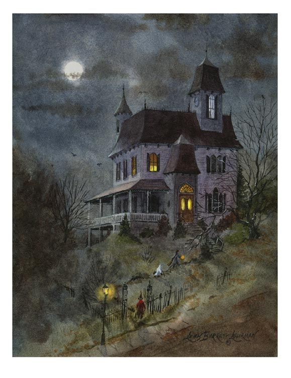 """spooky house"" painting is one of Lehrman's first ...from the Haunted studio"