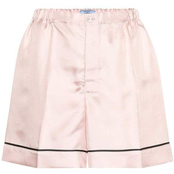 Prada Silk-Satin Shorts ($840) ❤ liked on Polyvore featuring shorts, pink, prada shorts, pink shorts and prada