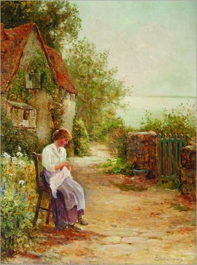 Ernest Walbourn English 1872 1927 Sewing In The Garden Beautiful DrawingsBeautiful PaintingsEnglish CottagesCountry