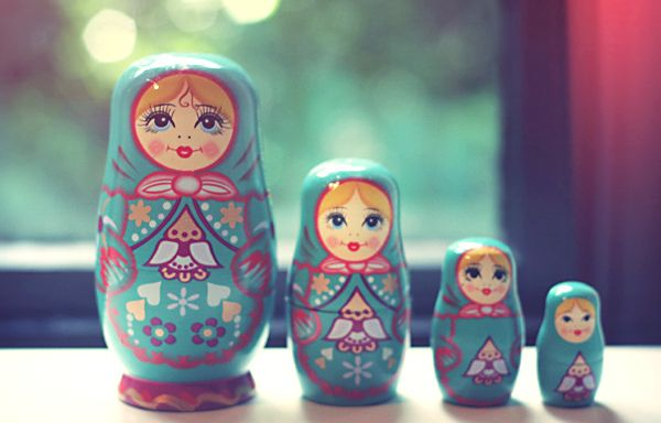 This image has inspired me to look at Russian Dolls and their structures more closely. The traditional Russian dolls have been placed in size order, often how they are displayed in shops, houses etc. I also love the colours that have been used to create each doll.