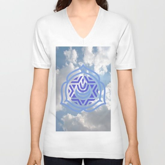 DESCRIPTION American Apparel Fine Jersey V-Necks are made with 100% fine jersey cotton combed for softness and comfort. V-Necks are Unisex Fit so women may wish to select one size smaller.   ABOUT THE ART speaks clearly, The Greek sky above the Parthenon, the throat chakra of communication, light embrace the sky